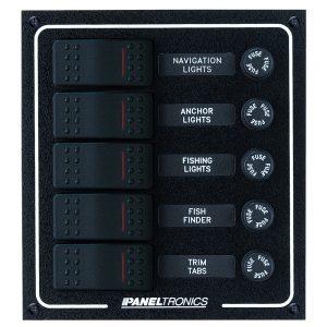 Paneltronics Waterproof DC 5 Position Lighted Rocker & Fuse