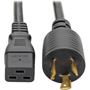Tripp Lite 10ft Power Cord Extension Cable L6-20P to C19 for PDU/UPS Heavy Duty 20A 12AWG 10' - 20A