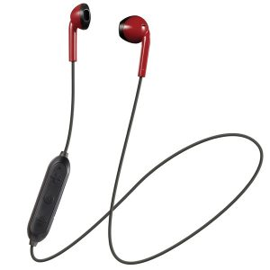 JVC HAF19BTRB Retro In-Ear Wireless Bluetooth Earbuds with Microphone (Red)