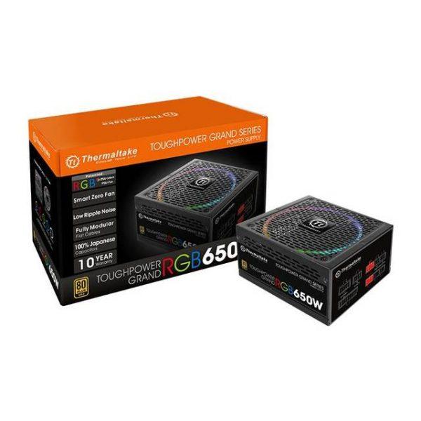 Thermaltake Toughpower Grand RGB PS-TPG-0650FPCGUS-R 650W 80 PLUS Gold ATX12V 2.4 & EPS12V 2.92 Power Supply w/ Active PFC & Full Modular (Black)