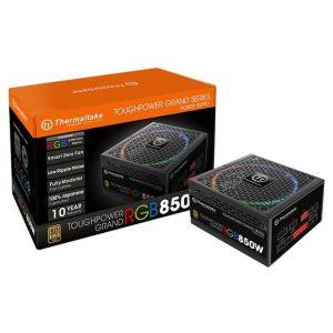 Thermaltake Toughpower Grand RGB PS-TPG-0850FPCGUS-R 850W 80 PLUS Gold ATX12V 2.4 & EPS12V 2.92 Power Supply w/ Active PFC & Full Modular (Black)