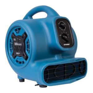 XPOWER(TM) P-230AT-BLUE P-230AT 1/4 HP 925 CFM 3-Speed Mini Air Mover/Floor Dryer/Utility Blower Fan with Timer and Power Outlets