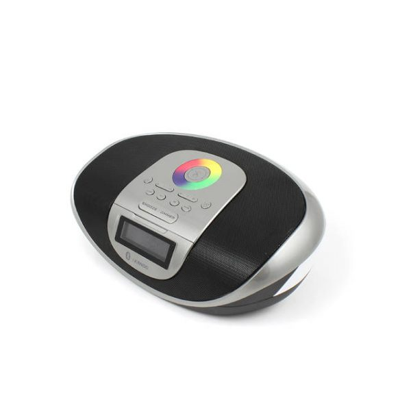 iKANOO BT009 Radio Clock Wireless Bluetooth/Wired 3.5mm Portable Speaker w/ Calendar Display & Touch Sensor (Silver)