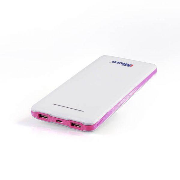 iMicro PB-IM8000R 8000mAh Lithium Polymer Battery Power Bank w/ Flashlight (Pink)